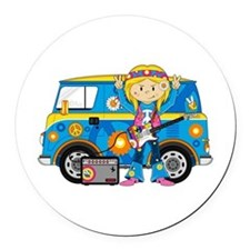 Hippie Girl and Camper Van Round Car Magnet