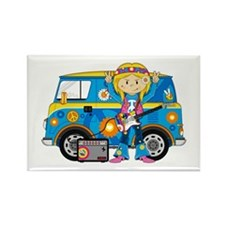 Hippie Girl and Camper Van Rectangle Magnet