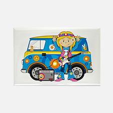 Hippie Girl and Camper Van Rectangle Magnet