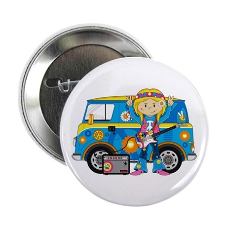 "Hippie Girl and Camper Van 2.25"" Button (10 p"