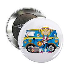 "Hippie Girl and Camper Van 2.25"" Button"