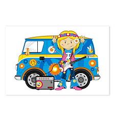 Hippie Girl and Camper Van Postcards (Pk of 8)