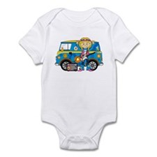 Hippie Girl and Camper Van Infant Bodysuit