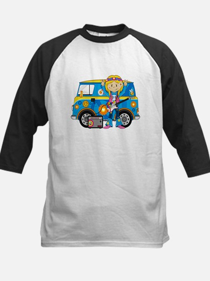Hippie Girl and Camper Van Kids Baseball Jersey