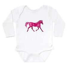 Pink Horse Long Sleeve Infant Bodysuit