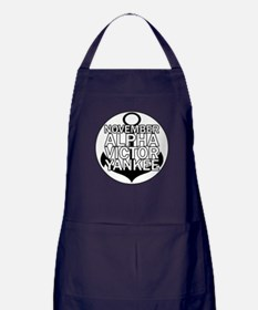 NAVY - Black & White Anchor Apron (dark)