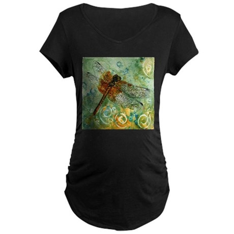 Dragonfly Away Maternity Dark T-Shirt