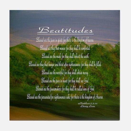 Beatitudes Green Tile Coaster