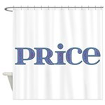 Price Blue Glass Shower Curtain