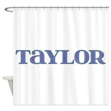 Taylor Blue Glass Shower Curtain By Namestuff Blueglass Mz