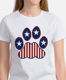 Patriotic Paw Print Women's T-Shirt
