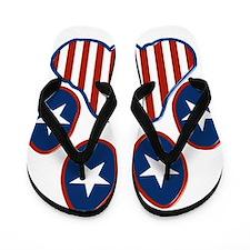 Patriotic Paw Print Flip Flops