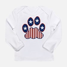 Patriotic Paw Print Long Sleeve Infant T-Shirt
