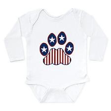 Patriotic Paw Print Long Sleeve Infant Bodysuit