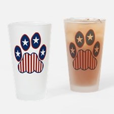 Patriotic Paw Print Drinking Glass