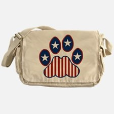 Patriotic Paw Print Messenger Bag