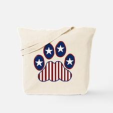 Patriotic Paw Print Tote Bag