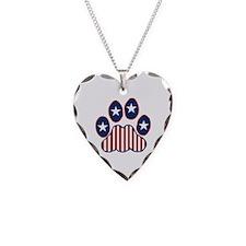 Patriotic Paw Print Necklace