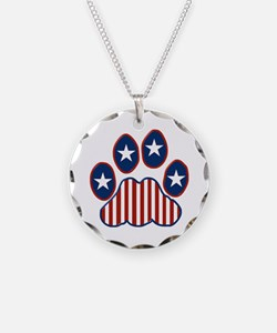 Patriotic Paw Print Necklace