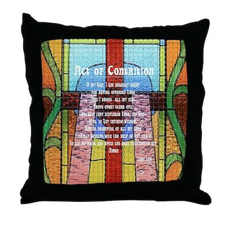 Act of Contrition Prayer Glass Throw Pillow
