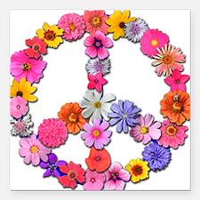 """FloralPeace.png Square Car Magnet 3"""" x 3"""""""