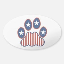 Patriotic Paw Print Sticker (Oval)