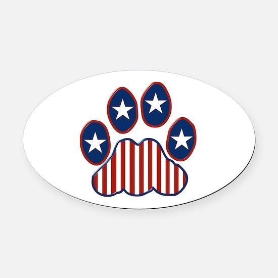 Patriotic Paw Print Oval Car Magnet