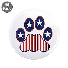 "Patriotic Paw Print 3.5"" Button (10 pack)"