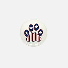 Patriotic Paw Print Mini Button (10 pack)