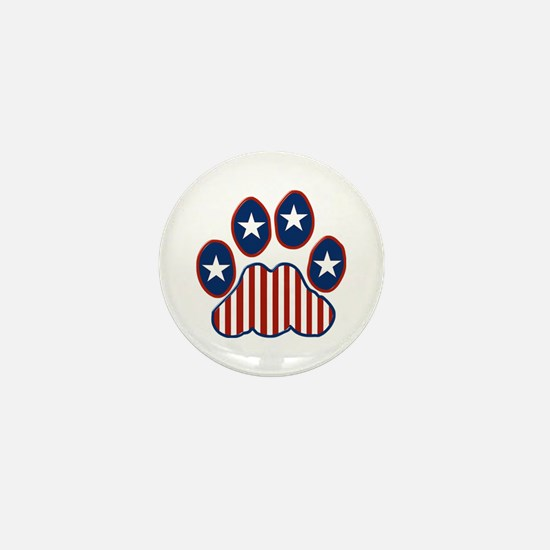 Patriotic Paw Print Mini Button