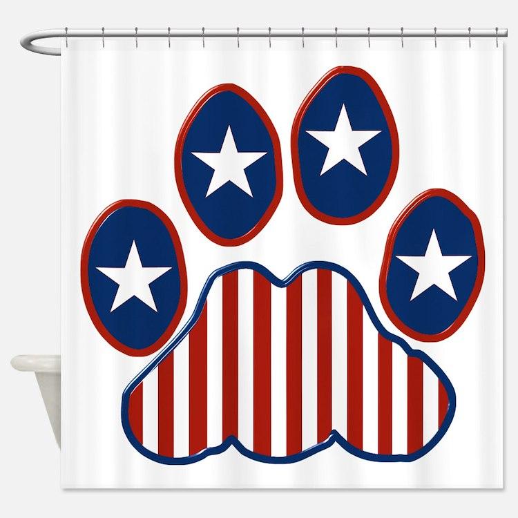 Patriotic Paw Print Shower Curtain
