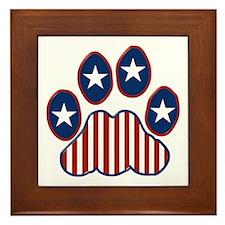 Patriotic Paw Print Framed Tile