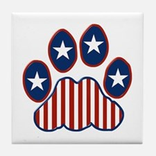 Patriotic Paw Print Tile Coaster