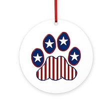 Patriotic Paw Print Ornament (Round)