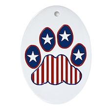 Patriotic Paw Print Ornament (Oval)
