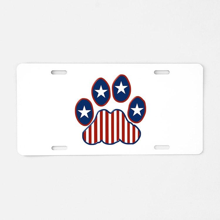 Patriotic Paw Print Aluminum License Plate