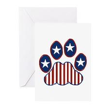 Patriotic Paw Print Greeting Cards (Pk of 20)