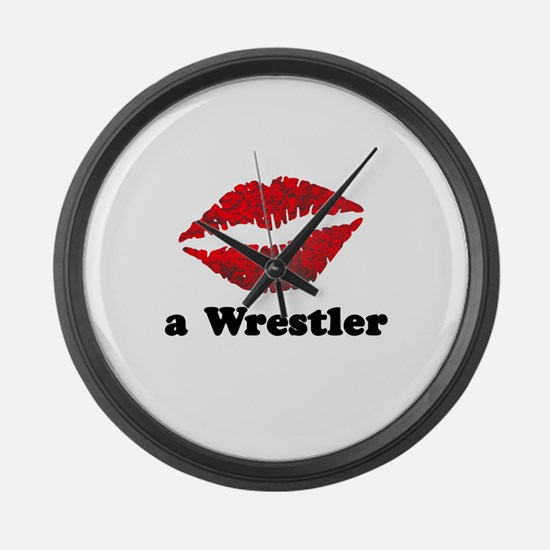 KissAWrestler.png Large Wall Clock