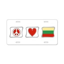 Peace, Love and Lithuania Aluminum License Plate