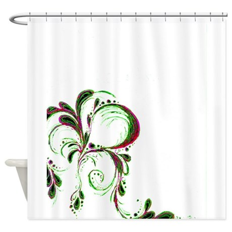 pink and green tear shower curtain by niqiart