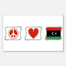 Peace, Love and Libya Sticker (Rectangle)