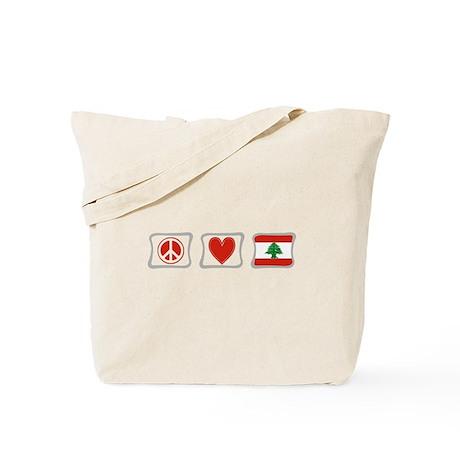 Peace, Love and Lebanon Tote Bag