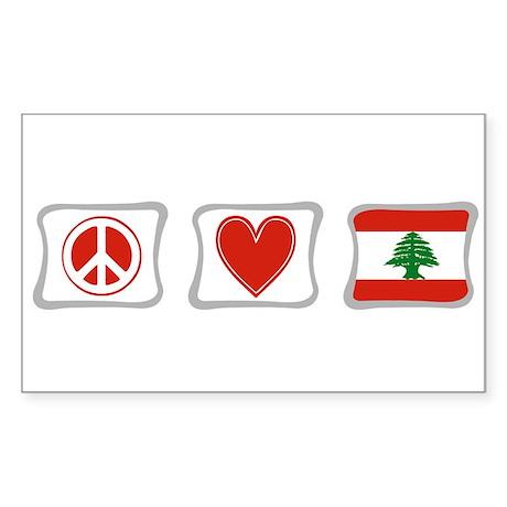 Peace, Love and Lebanon Sticker (Rectangle)