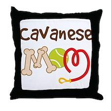 Cavanese Dog Mom Throw Pillow