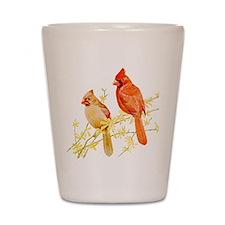 Red Cardinal Bird Shot Glass