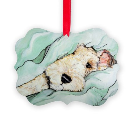 Napping Wire Fox Terrier Picture Ornament