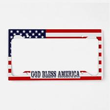 God Bless America with Flag License Plate Holder