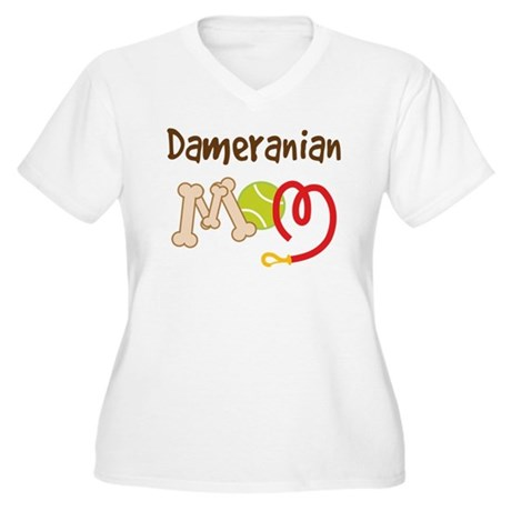 Dameranian Dog Mom Women's Plus Size V-Neck T-Shir