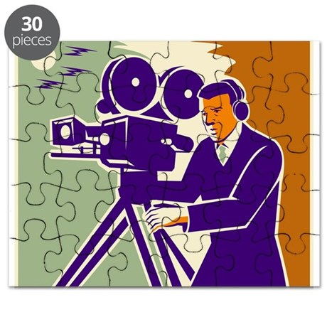 Cameraman Film Crew Vintage Video Movie Camera Puz