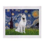 Starry-White German Shepherd Throw Blanket